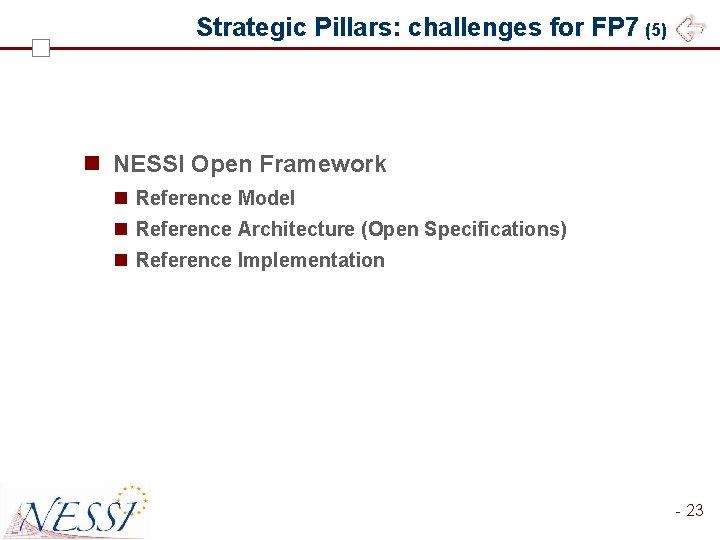 Strategic Pillars: challenges for FP 7 (5) n NESSI Open Framework n Reference Model