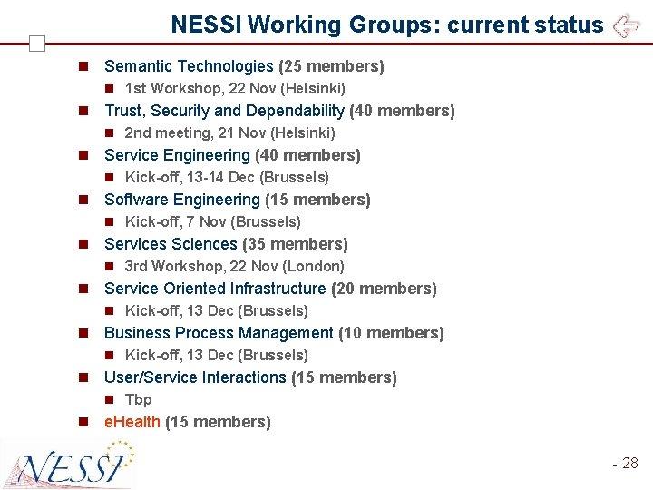 NESSI Working Groups: current status n Semantic Technologies (25 members) n 1 st Workshop,