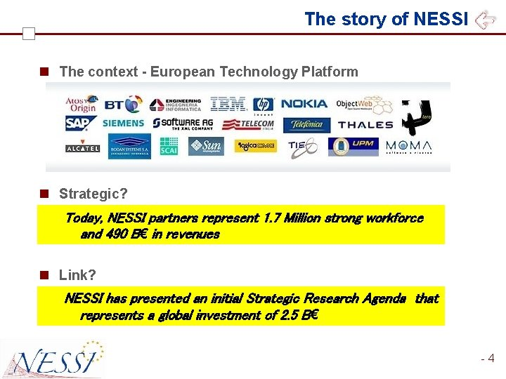 The story of NESSI n The context - European Technology Platform n Private-public partnership