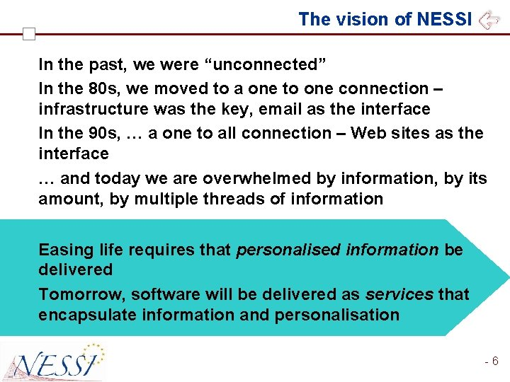 """The vision of NESSI In the past, we were """"unconnected"""" In the 80 s,"""