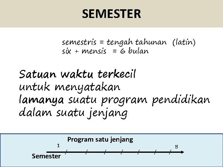 SEMESTER semestris = tengah tahunan (latin) six + mensis = 6 bulan Satuan waktu