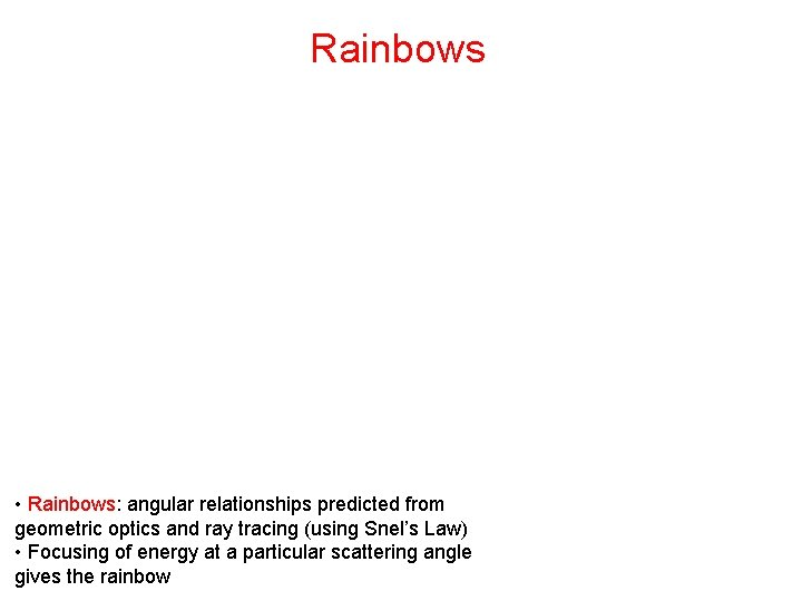 Rainbows • Rainbows: angular relationships predicted from geometric optics and ray tracing (using Snel's