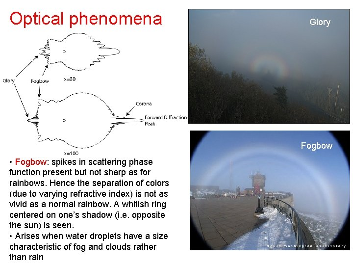 Optical phenomena Glory Fogbow • Fogbow: spikes in scattering phase function present but not