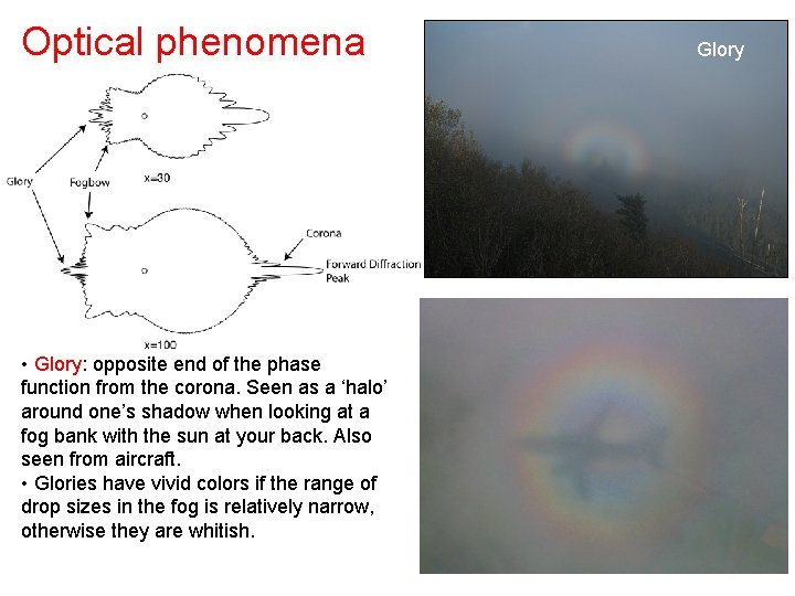 Optical phenomena • Glory: opposite end of the phase function from the corona. Seen