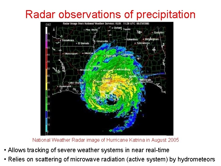 Radar observations of precipitation National Weather Radar image of Hurricane Katrina in August 2005