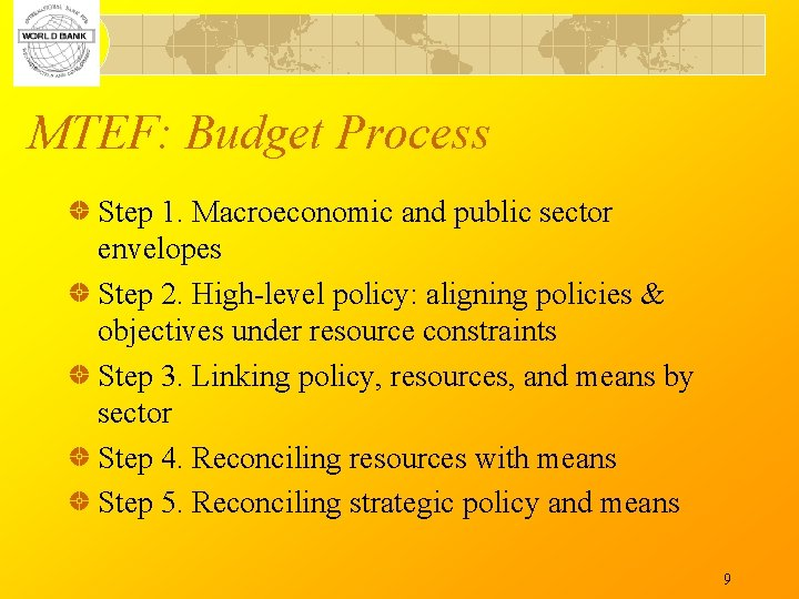 MTEF: Budget Process Step 1. Macroeconomic and public sector envelopes Step 2. High-level policy: