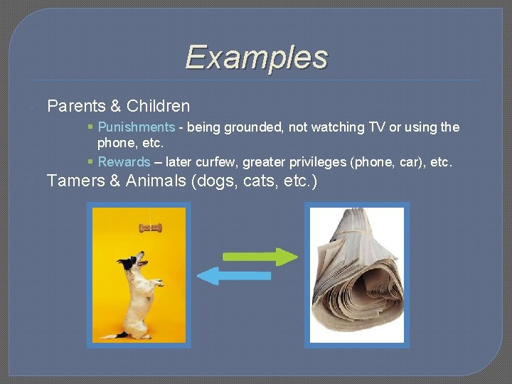 Examples Parents & Children § Punishments - being grounded, not watching TV or using