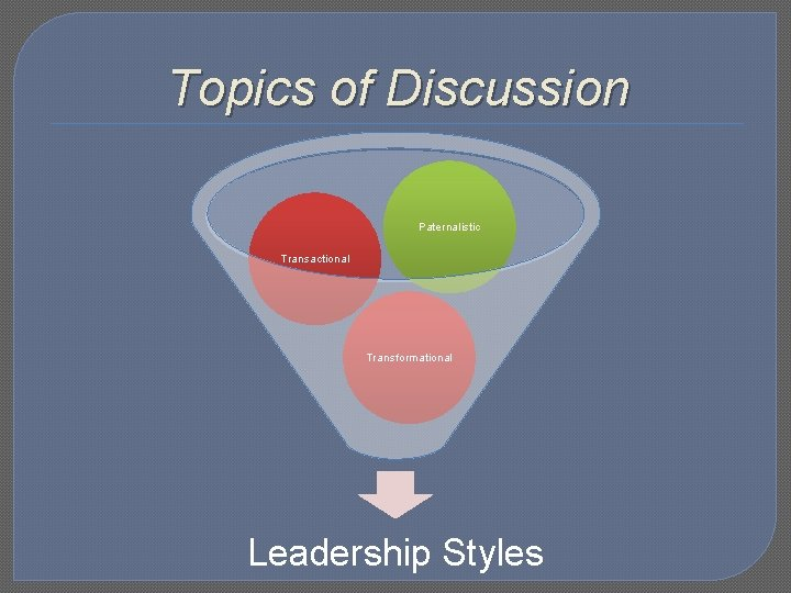 Topics of Discussion Paternalistic Transactional Transformational Leadership Styles