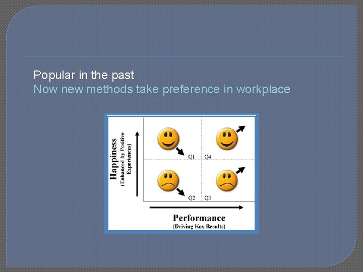Popular in the past Now new methods take preference in workplace