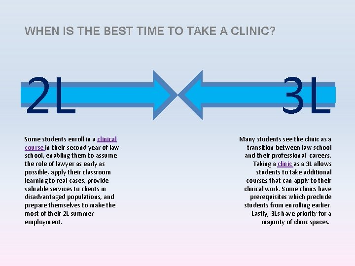 WHEN IS THE BEST TIME TO TAKE A CLINIC? 2 L Some students enroll