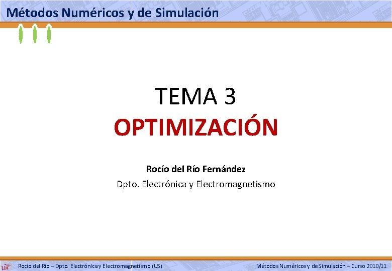 Métodos Numéricos y de Simulación TEMA 3 OPTIMIZACIÓN Rocío del Río Fernández Dpto. Electrónica