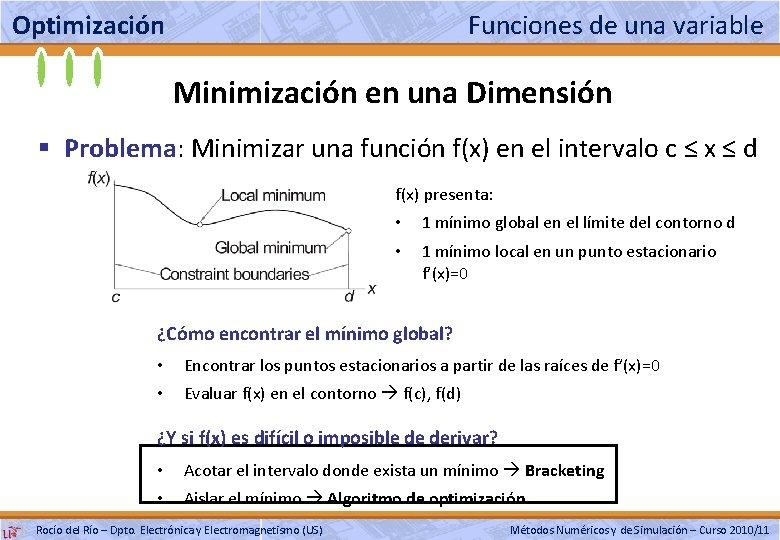 Optimización Funciones de una variable Minimización en una Dimensión § Problema: Minimizar una función