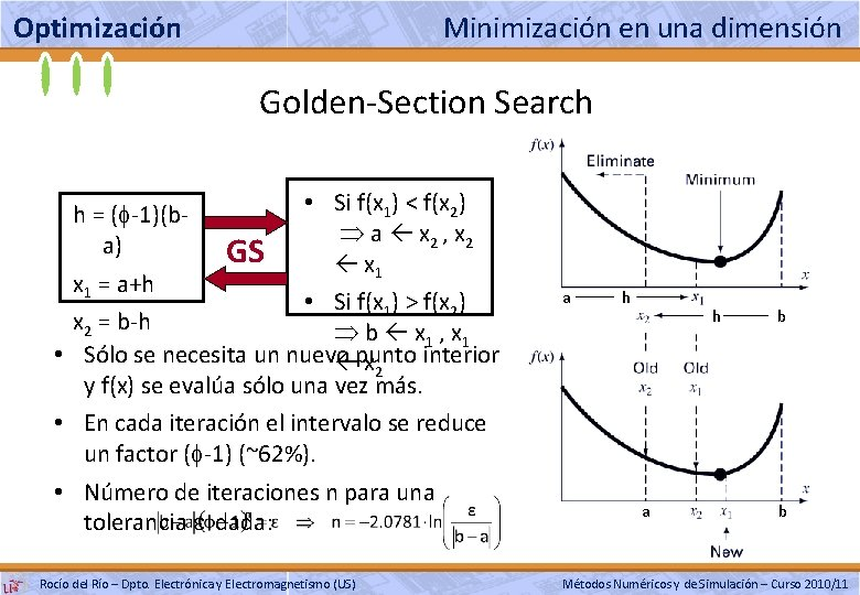 Optimización Minimización en una dimensión Golden-Section Search • Si f(x 1) < f(x 2)