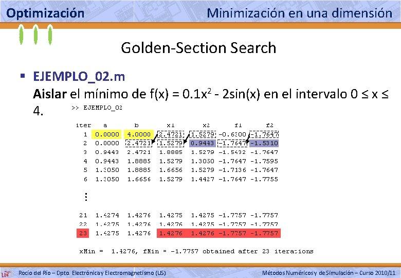 Optimización Minimización en una dimensión Golden-Section Search § EJEMPLO_02. m Aislar el mínimo de