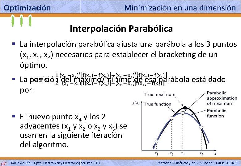 Optimización Minimización en una dimensión Interpolación Parabólica § La interpolación parabólica ajusta una parábola