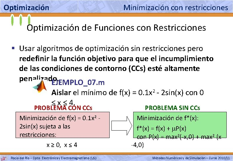 Optimización Minimización con restricciones Optimización de Funciones con Restricciones § Usar algoritmos de optimización