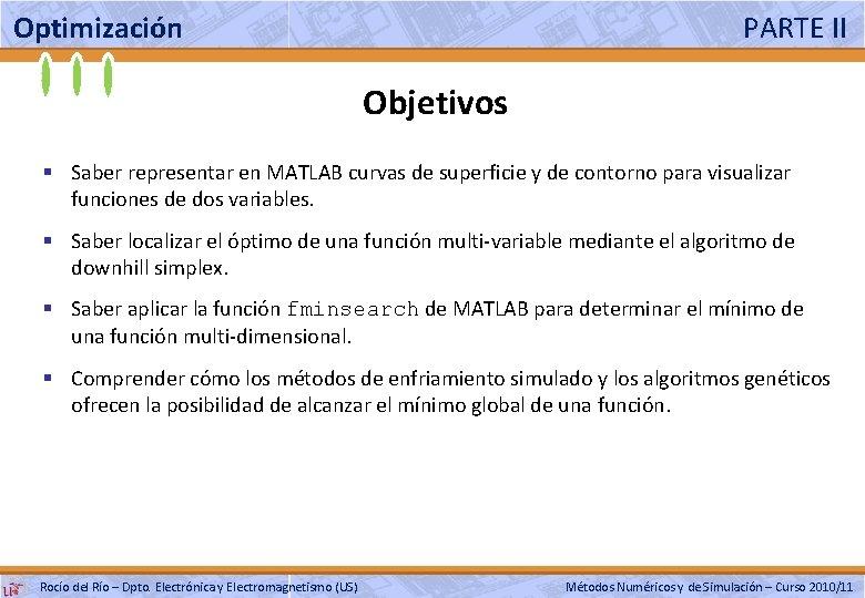 Optimización PARTE II Objetivos § Saber representar en MATLAB curvas de superficie y de