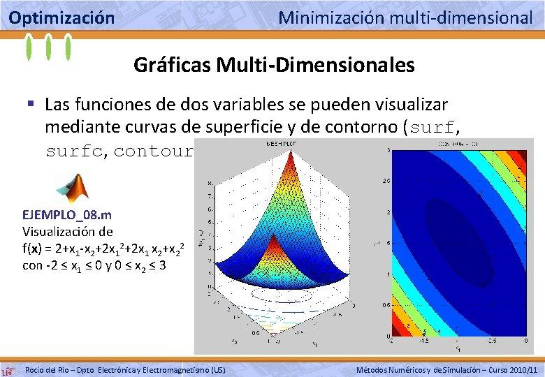 Optimización Minimización multi-dimensional Gráficas Multi-Dimensionales § Las funciones de dos variables se pueden visualizar