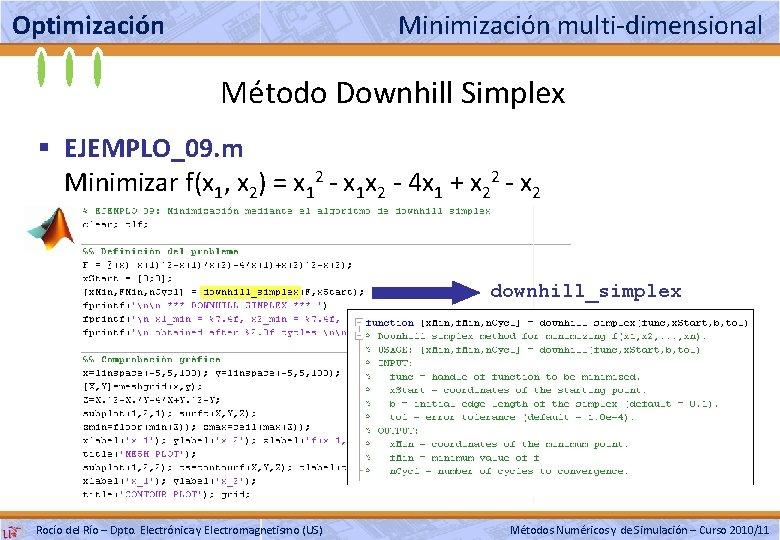 Optimización Minimización multi-dimensional Método Downhill Simplex § EJEMPLO_09. m Minimizar f(x 1, x 2)