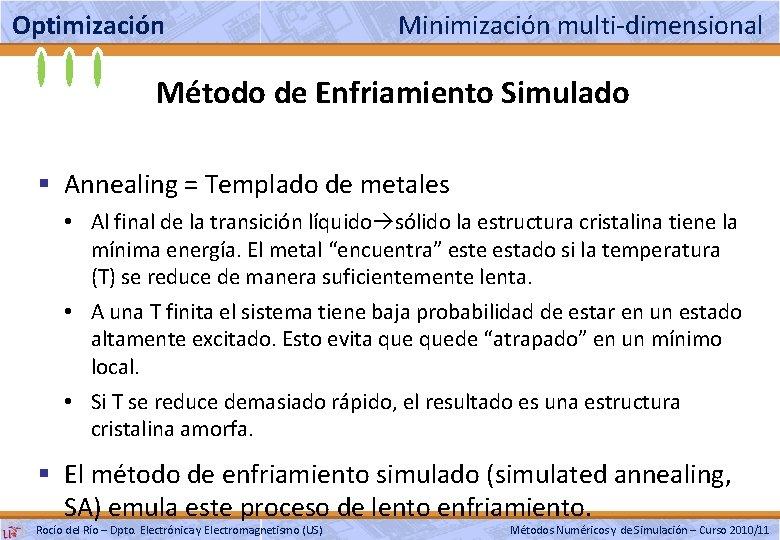 Optimización Minimización multi-dimensional Método de Enfriamiento Simulado § Annealing = Templado de metales •
