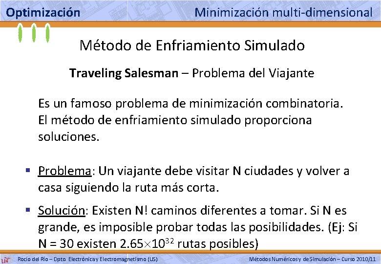 Optimización Minimización multi-dimensional Método de Enfriamiento Simulado Traveling Salesman – Problema del Viajante Es