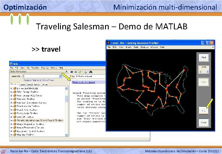 Optimización Minimización multi-dimensional Traveling Salesman – Demo de MATLAB >> travel Rocío del Río