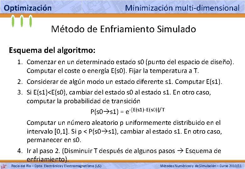 Optimización Minimización multi-dimensional Método de Enfriamiento Simulado Esquema del algoritmo: 1. Comenzar en un