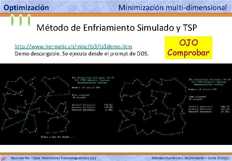 Optimización Minimización multi-dimensional Método de Enfriamiento Simulado y TSP http: //www. hermetic. ch/misc/ts 3