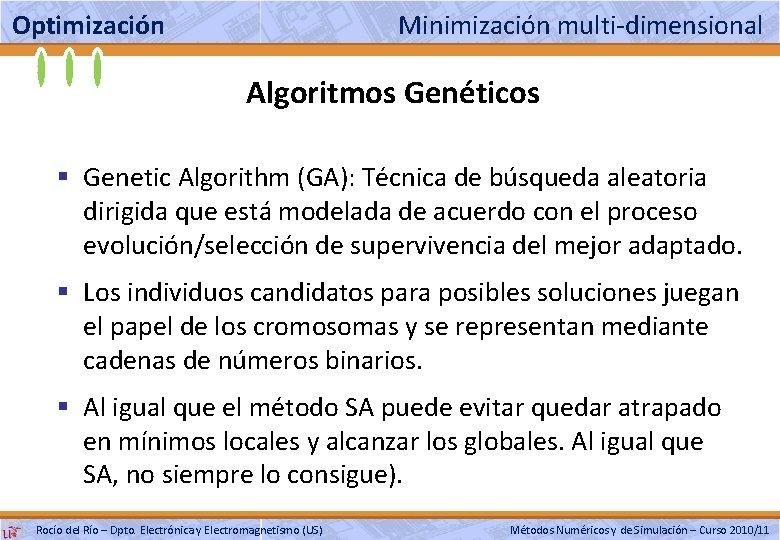 Optimización Minimización multi-dimensional Algoritmos Genéticos § Genetic Algorithm (GA): Técnica de búsqueda aleatoria dirigida