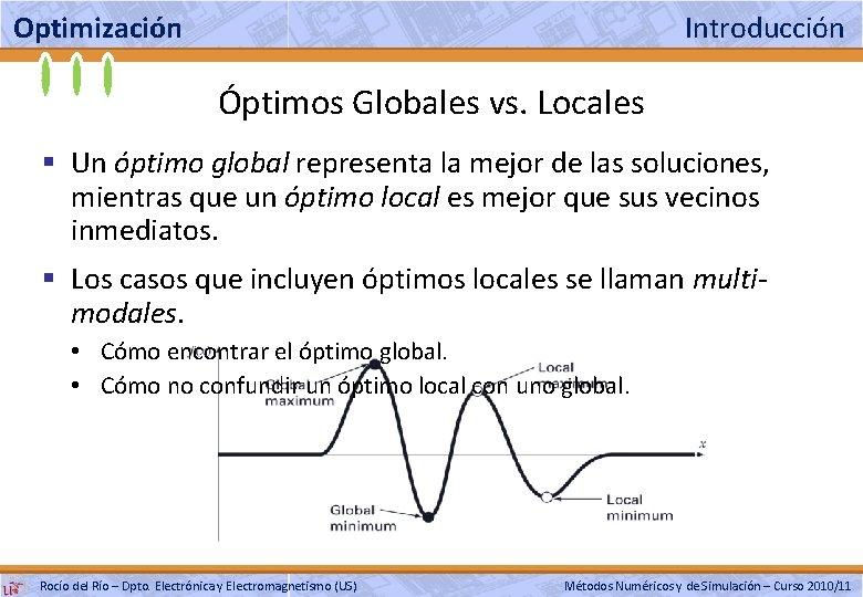 Optimización Introducción Óptimos Globales vs. Locales § Un óptimo global representa la mejor de