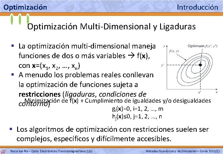 Optimización Introducción Optimización Multi-Dimensional y Ligaduras § La optimización multi-dimensional maneja funciones de dos