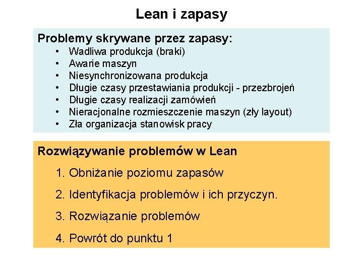 Lean i zapasy Problemy skrywane przez zapasy: • • Wadliwa produkcja (braki) Awarie maszyn