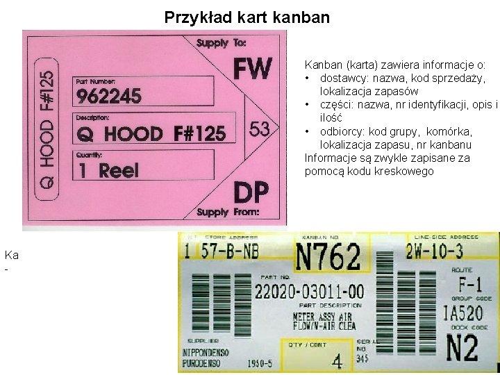 Przykład kart kanban Kanban (karta) zawiera informacje o: • dostawcy: nazwa, kod sprzedaży, lokalizacja