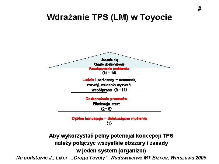 Wdrażanie TPS (LM) w Toyocie # Uczenie się Ciągłe doskonalenie Rozwiązywanie problemów (12 –