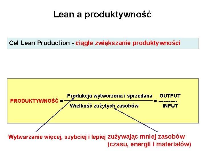 Lean a produktywność Cel Lean Production - ciągłe zwiększanie produktywności PRODUKTYWNOŚĆ = Produkcja wytworzona