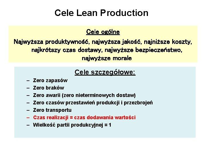 Cele Lean Production Cele ogólne Najwyższa produktywność, najwyższa jakość, najniższe koszty, najkrótszy czas dostawy,