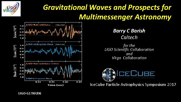 Gravitational Waves and Prospects for Multimessenger Astronomy Barry C Barish Caltech for the LIGO
