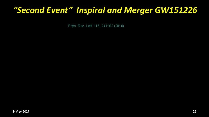 """""""Second Event"""" Inspiral and Merger GW 151226 Phys. Rev. Lett. 116, 241103 (2016) 8"""