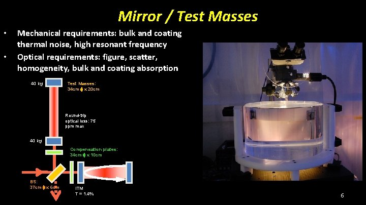 Mirror / Test Masses • • Mechanical requirements: bulk and coating thermal noise, high