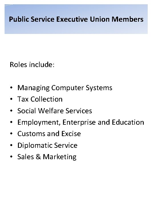 Public Service Executive Union Members Roles include: • • Managing Computer Systems Tax Collection