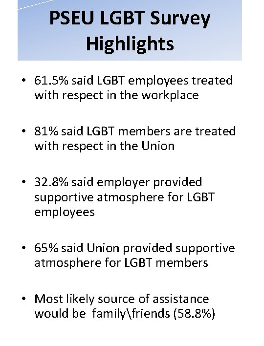 PSEU LGBT Survey Highlights • 61. 5% said LGBT employees treated with respect in