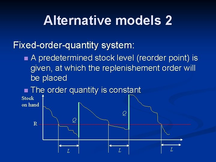 Alternative models 2 Fixed-order-quantity system: A predetermined stock level (reorder point) is given, at