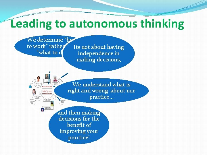"""Leading to autonomous thinking We determine """"how to work"""" rather than Its not about"""