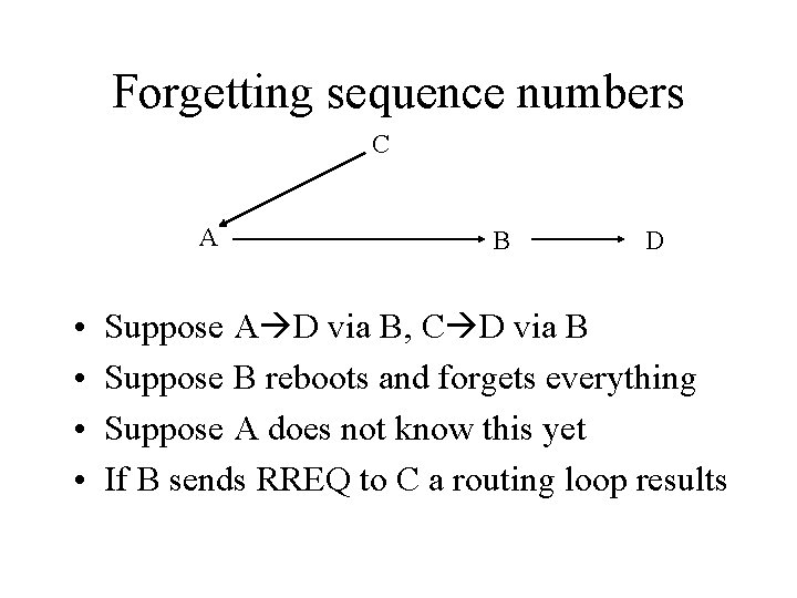 Forgetting sequence numbers C A • • B D Suppose A D via B,