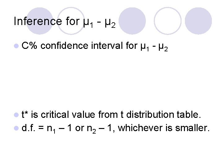 Inference for μ 1 - μ 2 l C% l t* confidence interval for