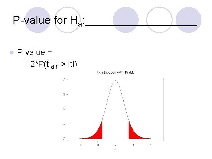 P-value for Ha: _________ l P-value = 2*P(t d. f. >  t )