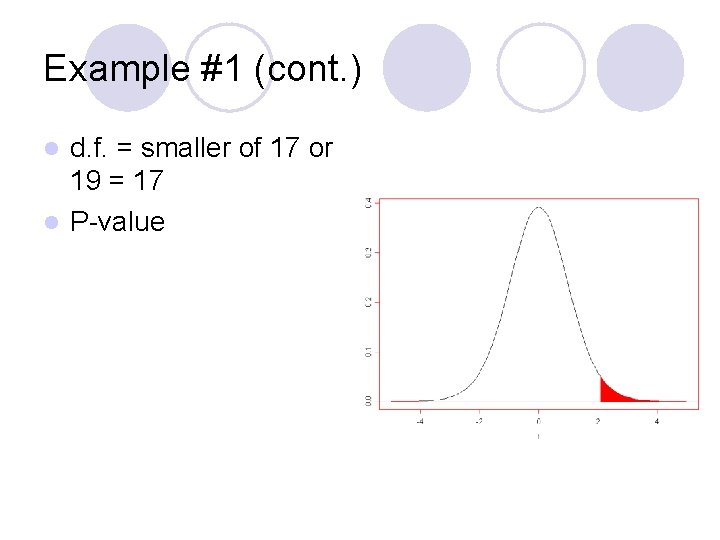 Example #1 (cont. ) d. f. = smaller of 17 or 19 = 17