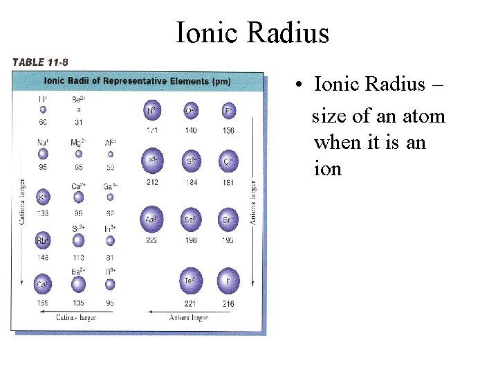Ionic Radius • Ionic Radius – size of an atom when it is an