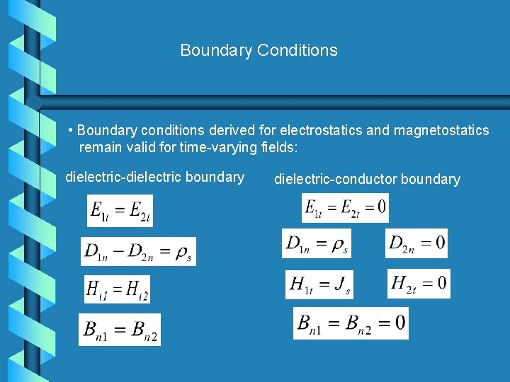 Boundary Conditions • Boundary conditions derived for electrostatics and magnetostatics remain valid for time-varying