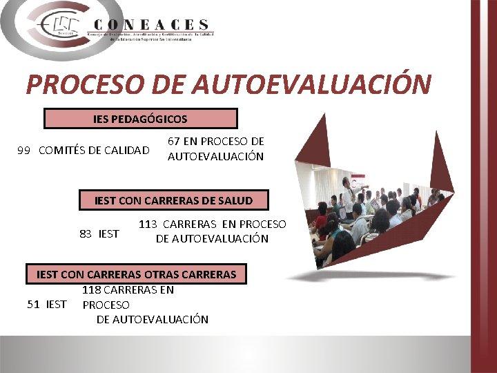 PROCESO DE AUTOEVALUACIÓN IES PEDAGÓGICOS 99 COMITÉS DE CALIDAD 67 EN PROCESO DE AUTOEVALUACIÓN